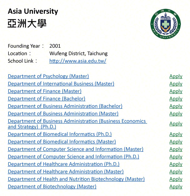 Aisa University, Taichung-shows address, logo & clickable link