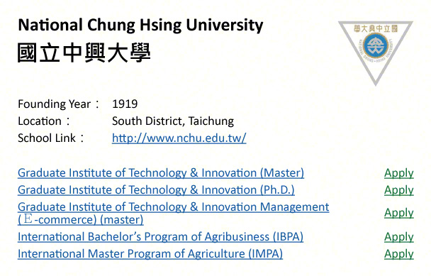 National Chung Hsing University, Taichung-shows address, logo & clickable link