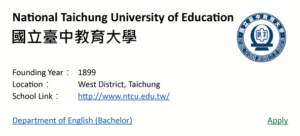 National Taichung University of Education, Taichung-shows address, logo & clickable link