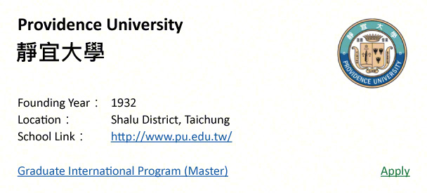Providence University, Taichung-shows address, logo & clickable link