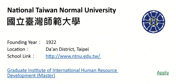 National Taiwan Normal University, Taipei-shows address, logo & clickable link