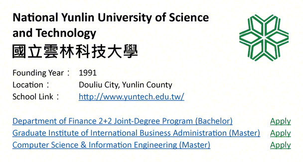 National Yunlin University of Science and Technology, Yunlin-shows address, logo & clickable link