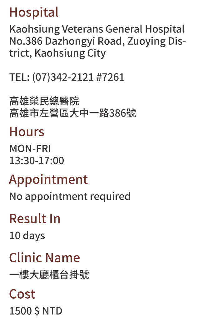 Kaohsiung City, Taiwan Health Check Hospitals Addresses
